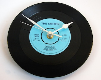 """The Smiths Clock. """"Panic"""" from original Rough Trade vinyl record. Fun gift for brother, sister, Morrissey fan Black blue silver gold single"""