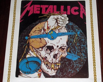 """Metal Up Your…I Mean, On Your Wall - Vintage 1980s Metallica PUSHEAD 10""""x12"""" Skull Glass Wall Plaque from Fair or Carnival - Heavy Metal"""