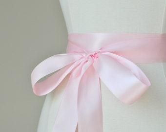 ReadyToShip LIGHT PINK Bridal Belt - Romantic Luxe Satin Ribbon Sash - Wedding Sashes