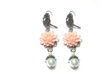 Pink  coral Dahlia Flower Earrings,Wedding, Bridesmaids Gifts, Brass ,Filigree,Free Gift With Purchase