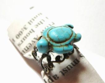 Only today  sale -Turtle RING   -  blue ring - simple, Animal, Jewelry Rings, Turquoise Jewelry -Adjustable Ring