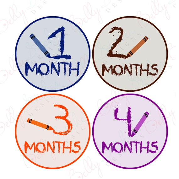 Neutral Monthly Baby Stickers, 1 to 12 Months, Monthly Bodysuit Stickers, Baby Age Stickers, Crayons (010-1)
