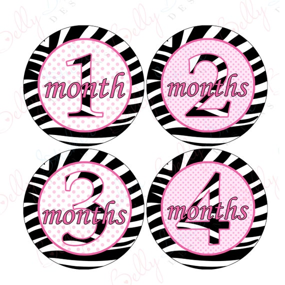 Girl Monthly Baby Stickers, 1 to 12 Months, Monthly Bodysuit Stickers, Baby Age Stickers, Hot Pink Polka Dots and Zebra Print  (028-2)