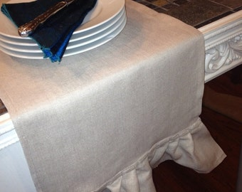 Linen Ruffled Farm Table Runner -  12 inches by 84 inches - Pure and simple