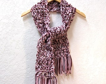 Crochet Scarf in maroon, pink, and white