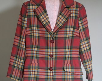 vintage plaid wool women's pant suit megan draper style