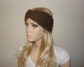 Coffe Brown Knit Turban Headband, Knitted Headband, Boho twist headband, hair band, head scarf, woman fashion, winter ski head wrap