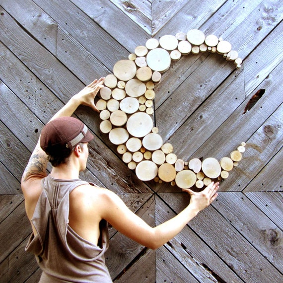 Abstract moon wood sculpture tree slice sculpture rustic wood for Tree trunk slice ideas