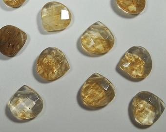 Golden Brown Rutilated Quartz Faceted Heart Briolette Beads 9mm - 10mm