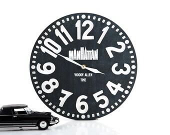 SALE 40% OFF Clock - Manhattan- pseudo vintage birch clock hand painted by black color blackboard style
