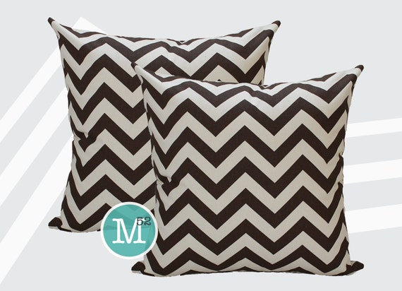 Brown Chevron Pillow Covers - Village Brown - Many Sizes Lumbar, 12, 14, 16 - Zipper Closure - dc246l
