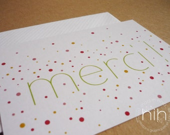 "lot 2 cartes ∴confettis∴ ""merci"""