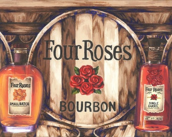 Four Roses Distillery Inspired Oil Painting Print; barware, wall art decor, bourbon distillery, man cave, hostess wedding gift, drinkware