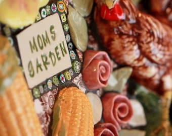 "Mixed media mosaic, Rooster, Garden art ""MOM'S GARDEN"""