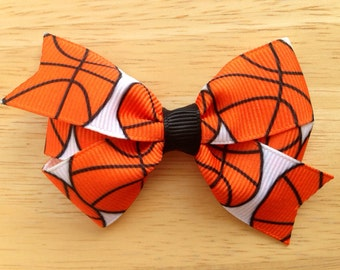 Basketball hair bow - basketball bow, sports bow, 3 inch bow