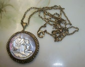Vintage Antique Carved Mother of Pearl Double Cameo Pendant 1/20 12K GF Chain