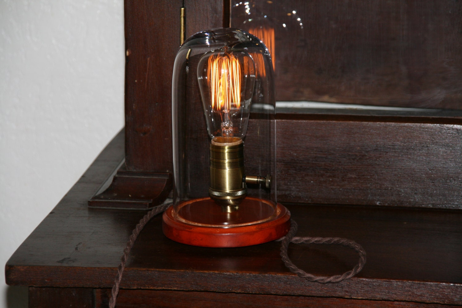 Bell Jar Table Lamp Edison Bulb Display Glass Dome Light