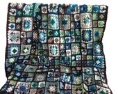 Crochet afghan granny square afghan, shades of earth, sea, and sky, chocolate brown border, 57 inches, READY TO SHIP