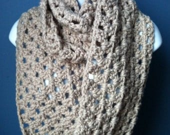 Chunky infinity scarf taupe chunky infinity cowl chunky crochet circle scarf chunky crochet cowl linen infinity cowl, READY TO SHIP
