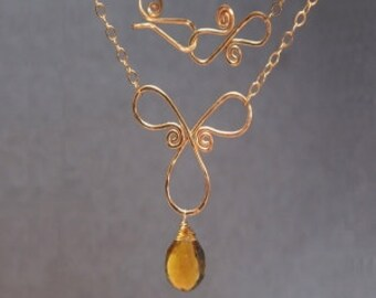 Hammered loop scroll with whiskey quartz Necklace 239