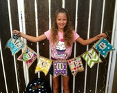 Teacher name burlap banner 7 flags in various colors and patterns (my choice)