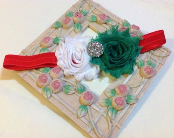 White and Green Shabby Chic Flowers on an Red Headband with Rhinestone/Pearl Embellishment, Infant to Adult