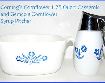 SALE!!  Vintage Corning 1.75 Qt Casserole and Gemco Syrup Pitcher, Blue Cornflower Pattern