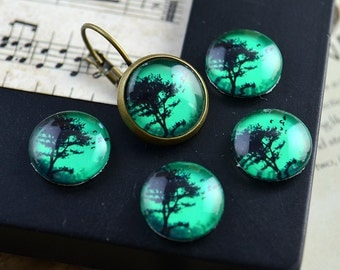 SALE - 10% OFF - 10pcs 12mm Handmade Photo Glass Cabs Cabochons (Tree)