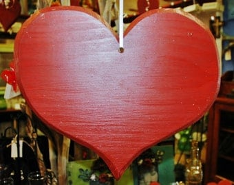 Handcrafted and Painted Rustic Wooden Heart