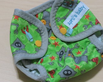 SALE Newborn Cloth Diaper Cover - fits 6-12lbs.  Robots