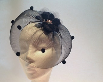 Black Fascinator-Pom Pom headpiece-Black Headband-US made-Head piece-Headdress NY