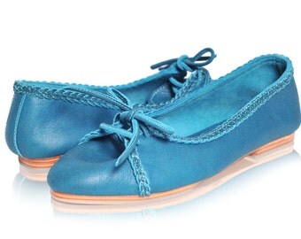 SASHA. Womens shoes / blue leather ballet flats / leather shoes / pointy toe flats. Available in different leather colors. Sizes US 5-14.