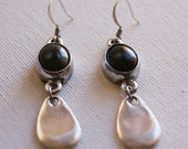 Black Onyx Stone and Silver Dangle Earrings. Black Onyx Handmade Aluminum Piece and Silver Earrings. Dangle Earrings