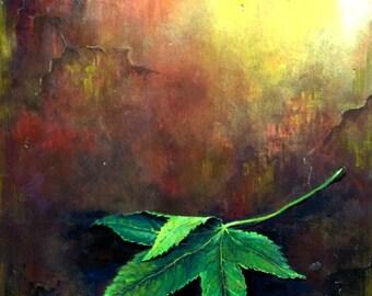 """The Leaf - Oil on Wood - 11"""" x 12"""" x 0.7"""""""