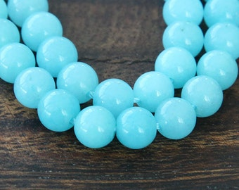 Mountain Jade Beads, Light Blue, 6mm Round - 15.5 Inch Strand - eMJR-B05-6