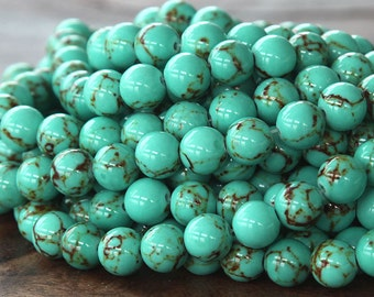 Magnesite Beads, Light Teal Green, 8mm Round - 15.5 inch Strand - eGR-MG001-8