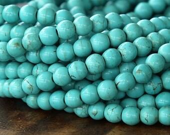 Magnesite Beads, Light Teal, 6mm Round - 15.5 inch Strand - eGR-MG003-6