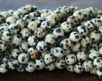Dalmatian Jasper Beads, 6mm Round - 15.5 inch Strand - eGR-JA002-6