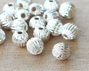 Silver Plated Beads, 6mm Corrugated Round - 25 pcs - eCRR01S-6