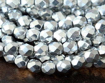 Silver Metallic Czech Glass Beads, 6mm Faceted Round - 50 pcs - e27000-6