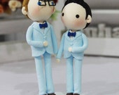 Gay Wedding Cake topper clay doll , Same sex Clay Couple in Blue theme, wedding clay figurine decoration, rings holder clay miniature