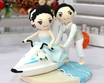 Wedding Cake topper wedding clay couple with water motor boat, engagement clay doll decoration, clay rings holder in wedding, perfect gift