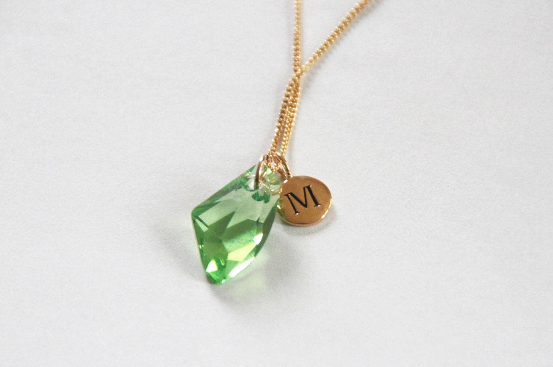August birthstone necklace peridot by bluegrassloft on etsy