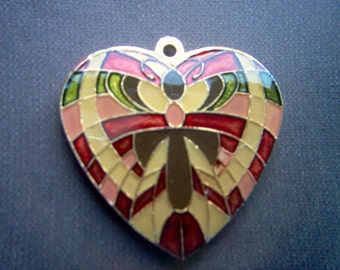 Red and Pink Enamel Butterfly Heart Pendant    # I  2