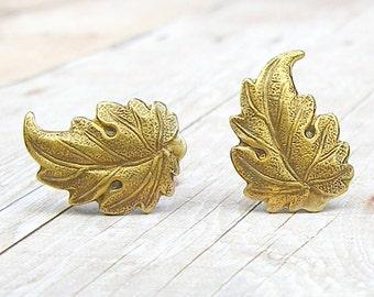 Antique Brass Leaf post earrings