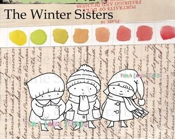 Winter Sisters Digi Stamp