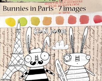 Bunnies in Paris Digi Stamps