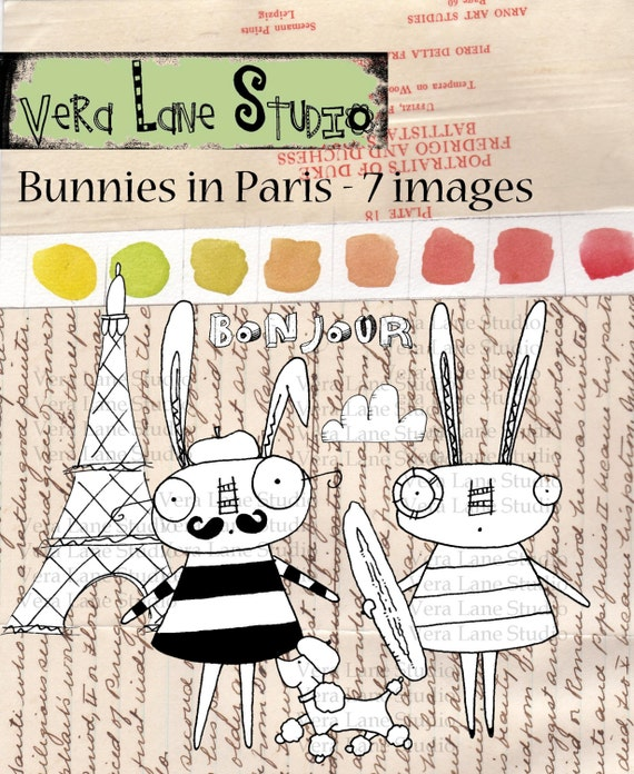 Bunnies in Paris Digi Stamps