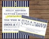 Navy and Yellow Nautical Wedding Invitation with RSVP