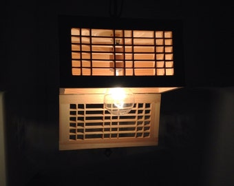 indoor light, hanging light, rectangular lamp shade, wooden light fixture, corner bathroom light